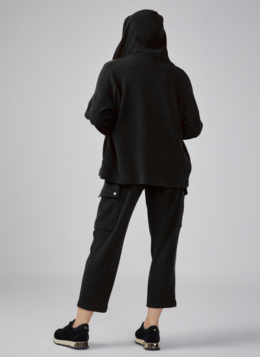 Gusto Kadın Vizon Önü Fermuarlı Kapüşonlu Ceket 20KG009008 Siyah